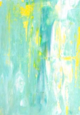 Turquoise and Yellow Abstract Art Painting by T30Gallery