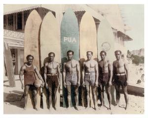 Hawaiian Duke Kahanamoku and his Brothers with Surfboards at Waikiki Beach, Hawaii by Tai Sing Loo
