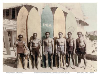 Hawaiian Duke Kahanamoku and his Brothers with Surfboards at Waikiki Beach, Hawaii