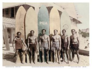 Hawaiian Duke Kahanamoku and his Brothers with Surfboards at Waikiki Beach, Hawaii by Tai Sing Loo