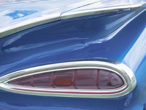 Tail Light on Blue Car