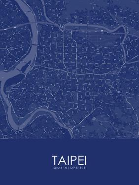 Taipei, Taiwan, Republic of China Blue Map