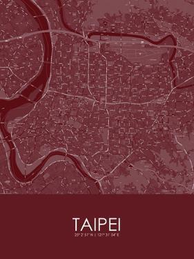 Taipei, Taiwan, Republic of China Red Map
