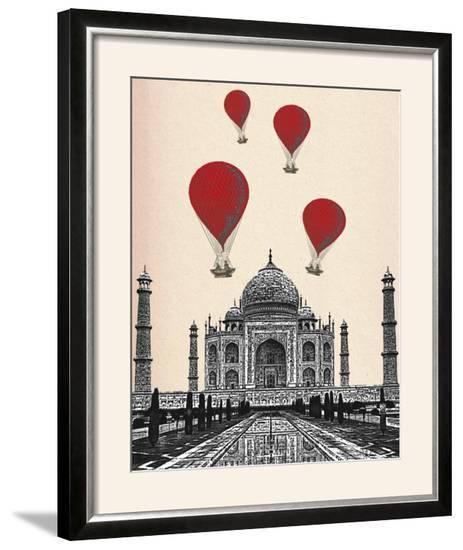 Taj Mahal and Red Hot Air Balloons-Fab Funky-Framed Photographic Print