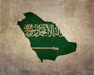 Map with Flag Overlay Saudi Arabia by Take Me Away