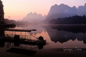 Vintage Boat on River in Guangxi Province, China, Asia by Take Me Away