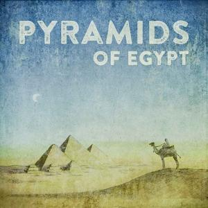 Vintage Pyramids of Giza with Camels, Egypt, Africa by Take Me Away