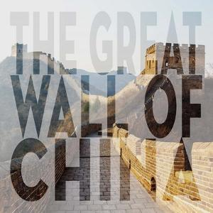 Vintage The Great Wall of China, Asia, Large Center Text II by Take Me Away