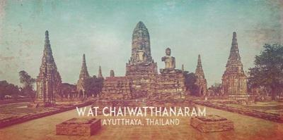 Vintage Wat Chaiwatthanaram, Thailand, Asia by Take Me Away