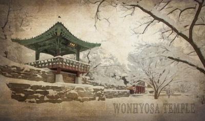 Vintage Winter at Wonhyosa Temple, Korea, Asia by Take Me Away