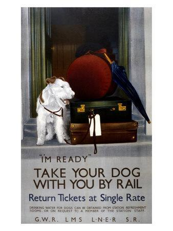 087 Vintage Railway Art Poster Take Your Dog With You