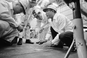 Founder of Honda, Soichura Honda Speaking to Engineers at Honda Plant, Tokyo, Japan, 1967 by Takeyoshi Tanuma