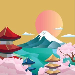 Japan Style Buildings and Fuji Mountain. by takiwa