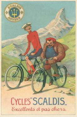 Tall and Fat Guy Riding Bicycles in Mountains