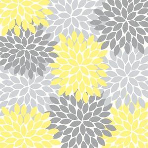 Flower Burst Yellow Dark and Light Gray by Tamara Robertson