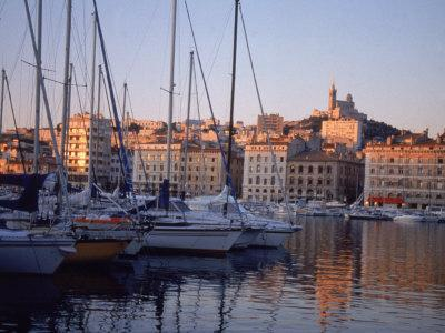Sailboats in Port by Buildings, Marseille, France