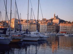 Sailboats in Port by Buildings, Marseille, France by Tamarra Richards