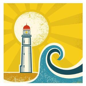 Lighthouse Poster.Vector Vintage Illustration on Old Paper by Tancha