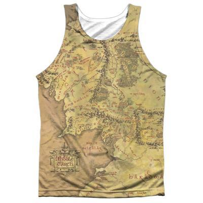 Tank Top: The Lord Of The Rings: The Fellowship Of The Ring- Middle Earth Map (Black Back)