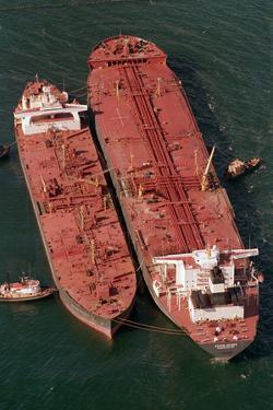 Tanker Pumps Oil from Exxon Valdez