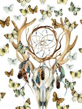 Animal Skull with Dreamcather and Butterfly by tanycya