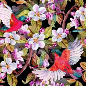 Apple Blossom and Flying Birds by tanycya
