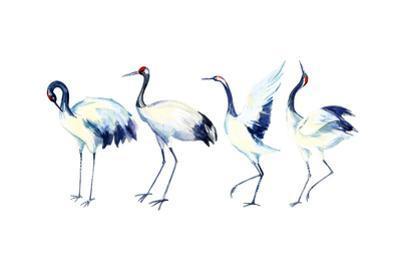 Watercolor Asian Crane Bird Set by tanycya