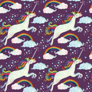 Watercolor Fairy Tale Pattern with Flying Unicorn, Rainbow, Clouds and Rain by tanycya