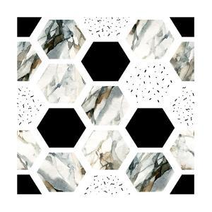 Watercolor Hexagons with Stripes by tanycya