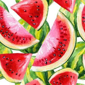 Watercolor Painting with Watermelon by tanycya