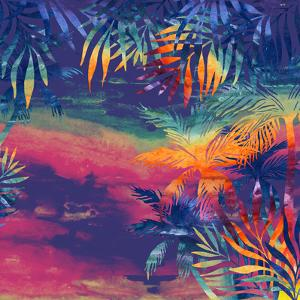Watercolor Palm Trees at Sunset by tanycya