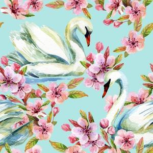 Watercolor Swan and Cherry Bloom by tanycya