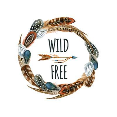 Wild and Free - Wreath with Bird Feathers and Arrow by tanycya