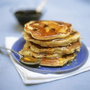 Blueberry Pancakes with Maple Syrup by Tara Fisher