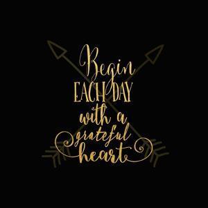 Begin Each Day Arrows Gold on Black by Tara Moss