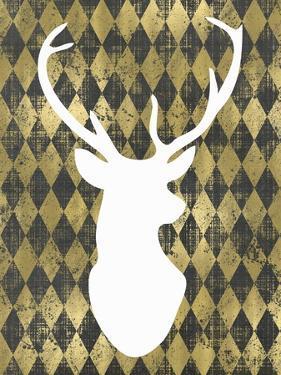 Gold Chalkboard Deer Head by Tara Moss
