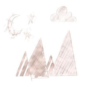 Moon and Mountains Pink by Tara Moss