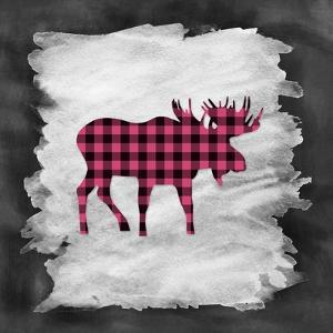 Pink Plaid Moose by Tara Moss