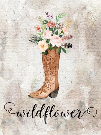 Wildflower Watercolor Boot