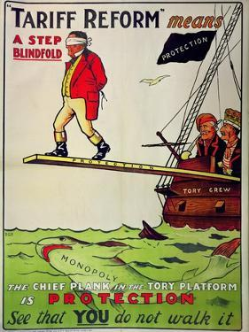 Tariff Reform Means a Step Blindfold', Poster Defending Free Trade Against Attack