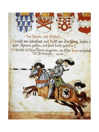 Book of the Tournament. Knight on Horseback and Armed with Spears. Italy.