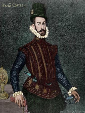 Hernan Cortes (1488-1547). Engraving. Colored.