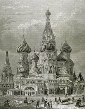 Russia, Moscow, St. Basil's Cathedral, Engraving by Tarker