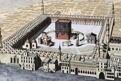 The Kaaba in Mecca. Colored Engraving.