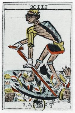 Tarot Card of Death, the Grim Reaper, Noblet Tarot, 17th Century