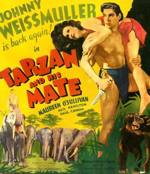 TARZAN AND HIS MATE, from left: Maureen O'Sullivan, Johnny Weissmuller, 1934.