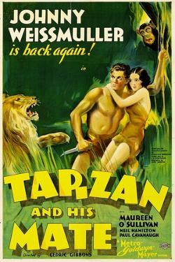 TARZAN AND HIS MATE, Johnny Weissmuller, Maureen O'Sullivan, 1934