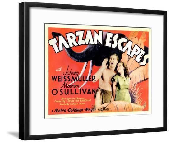 Tarzan Escapes, from Left: Johnny Weissmuller, Maureen O'Sullivan, 1936--Framed Giclee Print