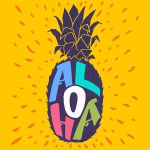 Aloha Hand Lettering in a Pineapple Silhouette. Fun Summer Typography Illustration Can Be Used As by TashaNatasha