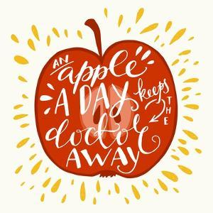 Colorful Hand Lettering Illustration of An Apple a Day Keeps the Doctor Away Proverb. Motivationa by TashaNatasha